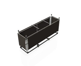 STEEL TROLLEY FOR 10 b62/b55/DMK FRAMES [INCL. WOOD PANELS] 2976MM
