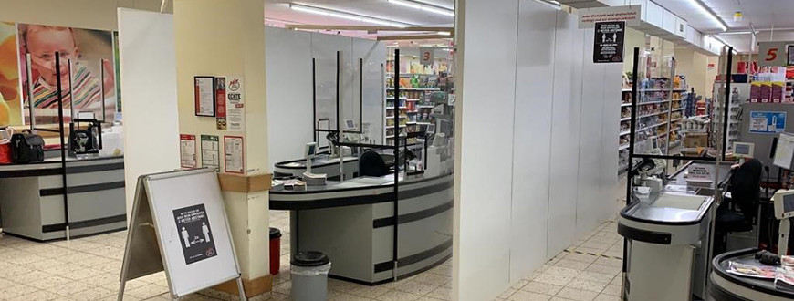 Customer WRCK Raumkonzepte (DE) creates hygiene walls at checkouts of supermarkets all over Germany